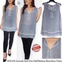 K707 S.oliver Greyish Soft Dye Half Button Sleeveless Tunic