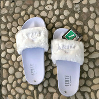 Sandal Slop Fenty Bulu Putih