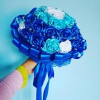 Buket pengantin mawar satin mewah