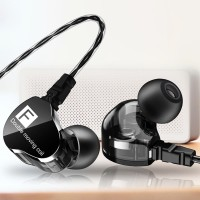 Fonge F4 Sport Earphone Dual Driver Powerful Bass Headset with mic - Ungu