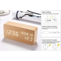 Jam Alarm LED Wood Clock / Jam Meja Digital Motif Kayu Voice Control