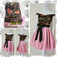 Dress Sabrina Batik Combi Twis Peach