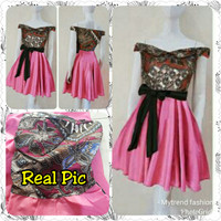 Dress Sabrina Batik Combi Twis Pink