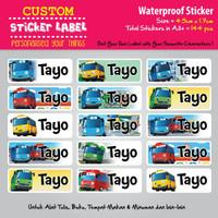 Sticker Label Nama Waterproof - Tayo