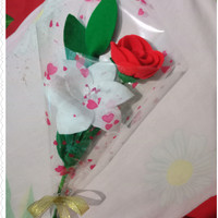 Buket mini bunga mawar flanel / mini rose handbouquet