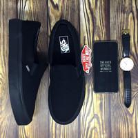 Sepatu Vans Slip On Classic Full All Black BNIB Original Premium