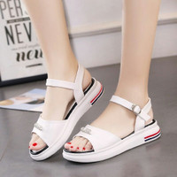 Sandal Wedges Wanita Mutiara SDW282 Putih