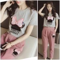 DAMAI FASHION JAKARTA - baju setelan MINNY RIBBON pink dusty