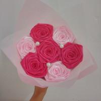buket bunga satin handmade hadiah wisuda valentine ultah