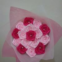 buket bunga satin mawar mini hadiah valentine wisuda ultah