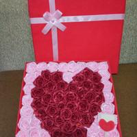 bunga box satin handmade love hadiah anniv valentine