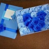 bunga box satin handmade biru mawar hadiah kado valentine pacar