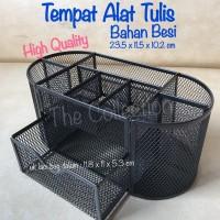 ATK549TP OVAL Tempat Alat Tulis Besi with Drawer Desk Organizer Pensil
