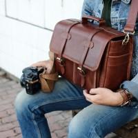 Tas Kamera Kulit Asli untuk DSLR