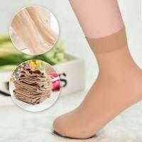Kaos Kaki Wanita Elastis Transparan Tipis Stocking Pendek - Beige