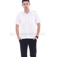 Baju / Kemeja Putih Lengan Pendek ( PNS / Pilot ) Drill High Quality - Putih, S