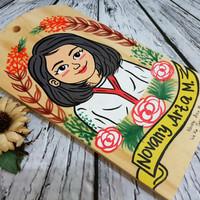 Talenan lukis 1 wajah hadiah kado karikatur kartun kayu handmade unik