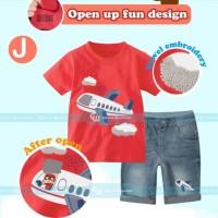 Baju Anak Import Branded Setelan Jeans Anak Laki Laki 3D Plane