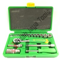 """Kunci Sok Set TEKIRO 1/4 - 3/8"""" 21 pcs - Shock Socket Set Box Plastik"""