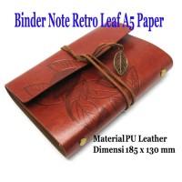 Buku Catatan Binder Kulit Retro Leaf Kertas A5