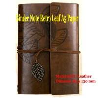 Buku Catatan Binder Kulit Retro Leaf Kertas A5 - Coffee