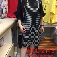Ncl 2115 vertical stripe dress Scuba Premium Import Fit XL Dress Midi
