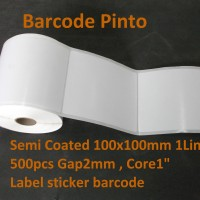 "100x100mm 1Line 500pcs core1""gap,Semi Coated Label sticker barcode"