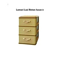 AKAKO - Lemari Laci Plastik motif Rotan 3 Susun / Promo Murah