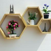 Rak dinding kayu Hexagon Set 3 in 1 jati belanda