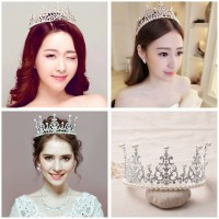 Mahkota hiasan rambut aksesoris tiara wedding pesta pengantin CC15 T