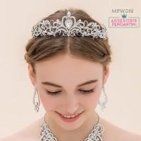 Crown Mahkota Pengantin Modern Aksesoris Rambut Pesta Wedding MPW012