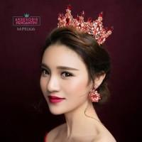 Mahkota Pesta Emas Pengantin Wanita l Aksesoris Rambut Wedding MPE 0