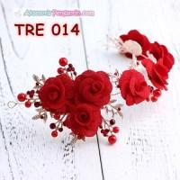 Aksesoris Rambut Pesta Merah Hiasan Tiara Pengantin Emas Wanita TRE0