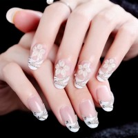 NA052 - Kuku Palsu 3D/ Nail Art / White Fake Nails Wedding For Bride M