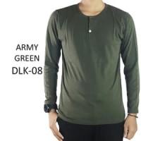 Kaos Polos Baju Pria Henley Kancing Lengan Panjang Hijau Army - DLK08 - Hijau Tua, XL