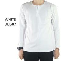 Baju Kaos Polos Pria Henley Kancing Lengan Panjang warna Putih - DLK07 - Putih, XL