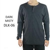 Kaos Polos Baju Pria Henley Kancing Lengan Panjang Misty Tua - DLK06 - Abu-abu, XL