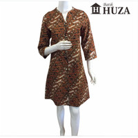 Batik Huza Dress Midi Sogan Bordir Coklat
