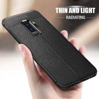 Auto Focus Slim Leather Soft Case Samsung Galaxy S6 S7 S8 S9 Edge Plus - Hitam, s6 flat