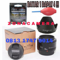 Lensa Yongnuo 50mm f1.8 CANON Bundle Lenshood+kenko Pro 1 protector