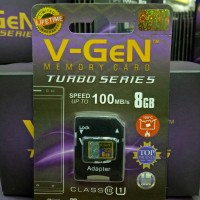 V-gen Micro SD Vgen 8GB Class 10 TURBO SERIES + Adaptor Memory Card
