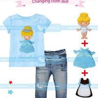 CUCI GUDANG SALE GW 252 C changing clothes cinderela girl jeans set