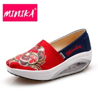 ORIGINAL MINIKA Healthable Shoes Print Chinese SEPATU FLAT WANITA RED