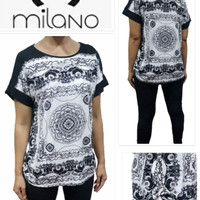 MILANO printed black&white Blouse Brand Murah