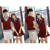 5487 baju CP atasan kaos leher krah kemeja merah maroon couple cute