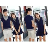 5488 Supplier baju couple keren dress kemeja cowok cewek navy dongker