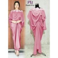 4180 gamis pesta kaftan wanita pink busui bordir cantik murah elegant