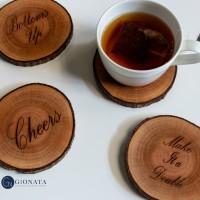 Engraved Wood Coaster / Slice Kayu /Potongan Kayu / Alas Gelas/Cangkir