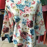 Baju Flower Print Ruffle Blouse. Blouse Wanita. Baju kerja/pesta NEW