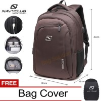 Navy Club Ransel Laptop built in USB Charger Upto 15inch Free BagCover